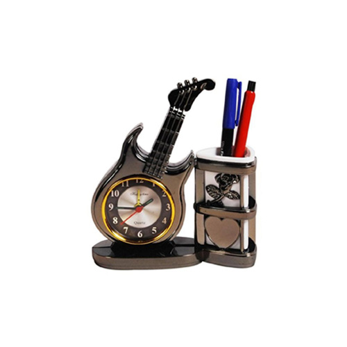 Guitar Shape Clock with Pen, Pencil Stand Holder for Home, Office and Table Decorative Item