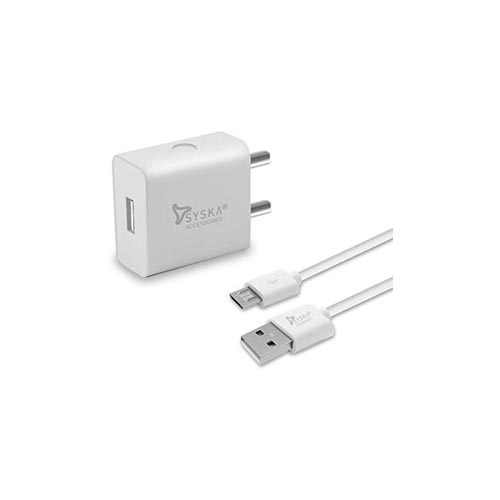 Syska Accessories Travel Adaptor TC-2A-WH, Mobile Charger